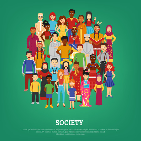 Illustration pour World society and nations concept on green background flat vector illustration - image libre de droit