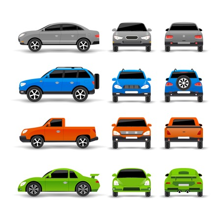 Photo for Cars side front and back icons set isolated vector illustration - Royalty Free Image
