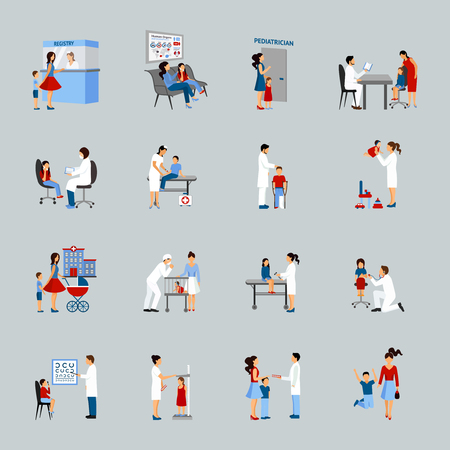Illustration pour Pediatrician icons set with doctors children and parents silhouettes isolated vector illustration - image libre de droit