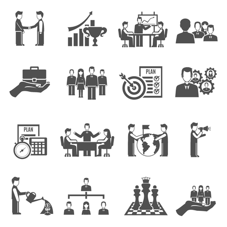 Photo for Management and business people teamwork black icons set isolated vector illustration - Royalty Free Image