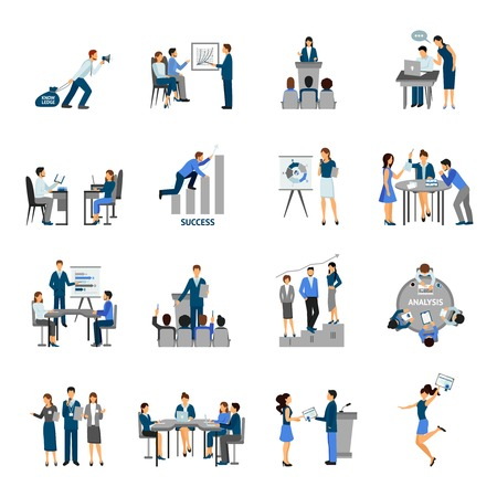 Illustration pour Business training and consulting service flat icons set isolated vector illustration - image libre de droit