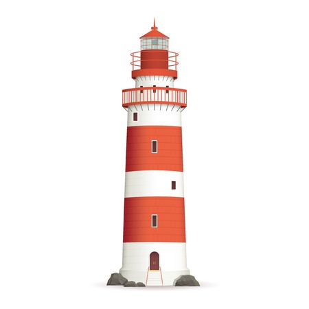 Illustration pour Realistic red lighthouse building isolated on white background vector illustration - image libre de droit
