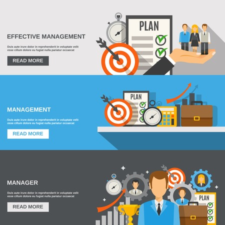 Illustration for Management horizontal banner set with effective manager flat elements isolated vector illustration - Royalty Free Image