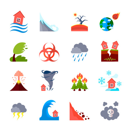 Illustration pour Flat style colored icons set of different natural disasters and civilization negative effects isolated vector illustration - image libre de droit