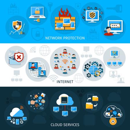 Ilustración de Network security horizontal banner set with cloud services elements isolated vector illustration - Imagen libre de derechos