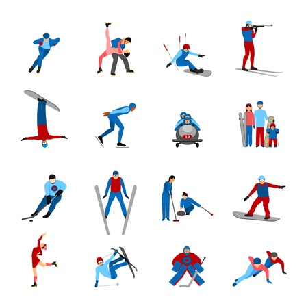 Winter sportsmen set with people on snowboard skies skates isolated vector illustration