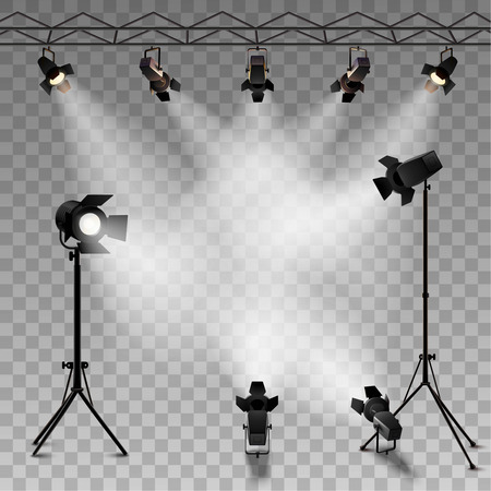 Illustration pour Spotlights realistic transparent background for show contest or interview vector illustration - image libre de droit