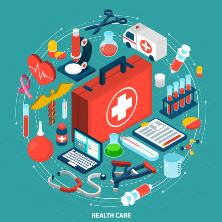 Photo for Healthcare management for international medical organizations concept model isometric round pictograms composition icon poster abstract vector illustration - Royalty Free Image