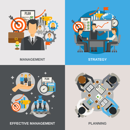 Photo for Management design concept set with effective planning flat icons isolated vector illustration - Royalty Free Image