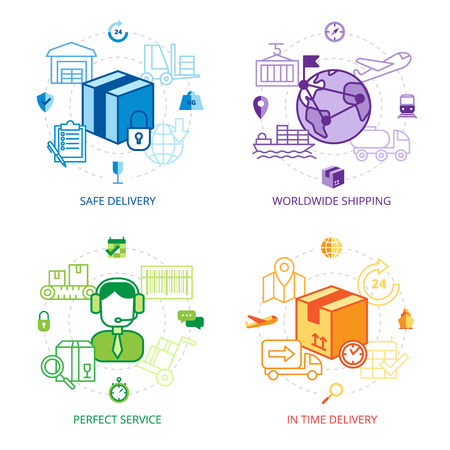 Photo for Logistics design line icons set with safe delivery worldwide shipping and perfect service symbols flat isolated vector illustration - Royalty Free Image