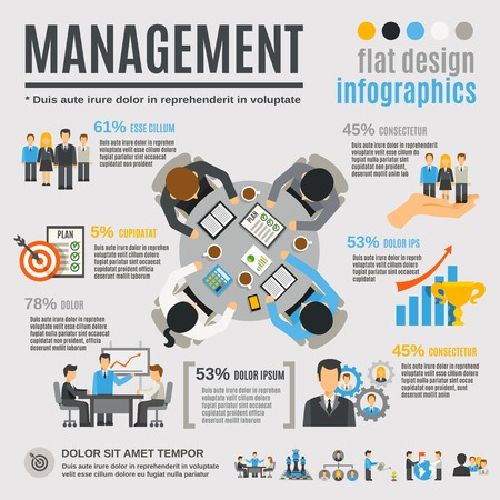 Photo pour Management infographics set with effective business planning symbols vector illustration - image libre de droit