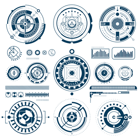 Illustration pour Touch HUD black white interface icons set in round shape flat isolated vector illustration - image libre de droit