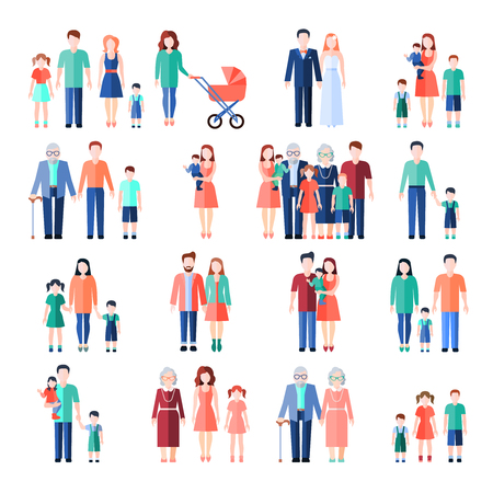 Illustration pour Family flat style images set with married couples parents and children isolated vector illustration - image libre de droit