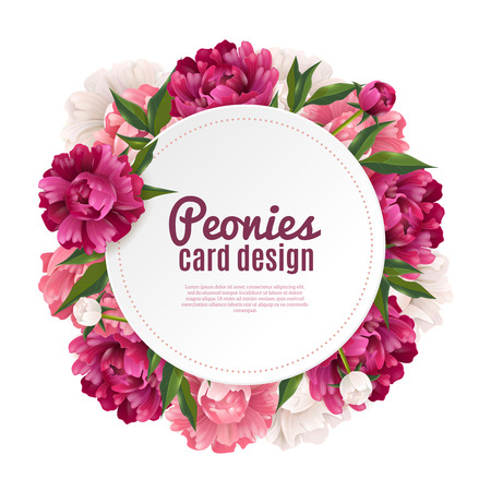 Illustration pour Peony round frame card design for greeting or invitation realistic vector illustration - image libre de droit