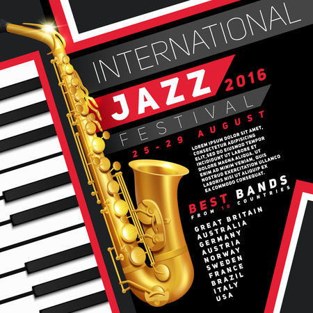 Illustration pour Poster for jazz festival with golden saxophone and piano keys vector Illustration - image libre de droit