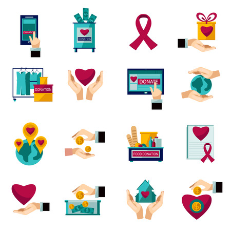 Illustration for International charity organization heart symbol flat icons set of food and clothes donation abstract isolated vector illustration - Royalty Free Image