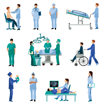 Illustration pour Medical professionals at work in operation room flat icons set with obstetrician surgeon abstract isolated vector illustration - image libre de droit