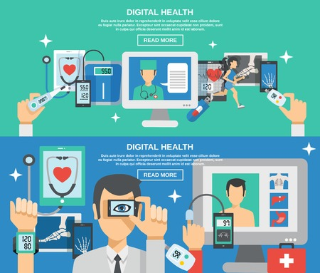 Photo for Digital health horizontal banner set with mobile medicine elements isolated vector illustration - Royalty Free Image