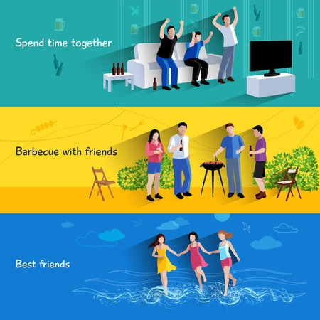 Spending free time together barbecuing with best friends 3 flat horizontal banners set abstract isolated vector illustration