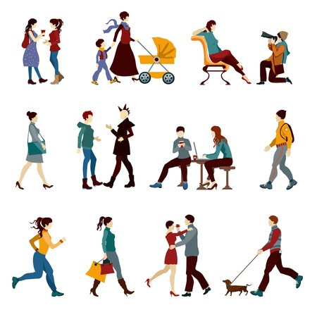 Illustration pour City people set with hipsters students kids and couples silhouettes isolated vector illustration - image libre de droit
