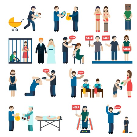 Illustration for Human trafficking flat pictograms collection with victims organs extraction and child forced labor abstract isolated vector illustration - Royalty Free Image