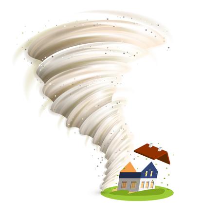 Illustration pour Tornado swirl damages village house roof vector illustration - image libre de droit