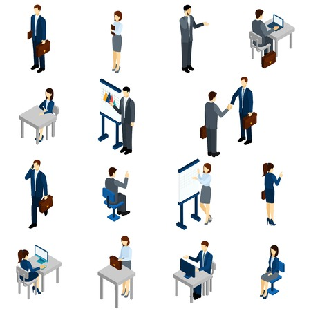 Illustrazione per Business people isometric set with males and females in office suits isolated vector illustration - Immagini Royalty Free
