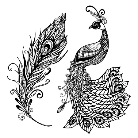 Illustration pour Decorative stylized peacock bird feather art deco design template for wall frames doodle black abstract vector illustration - image libre de droit