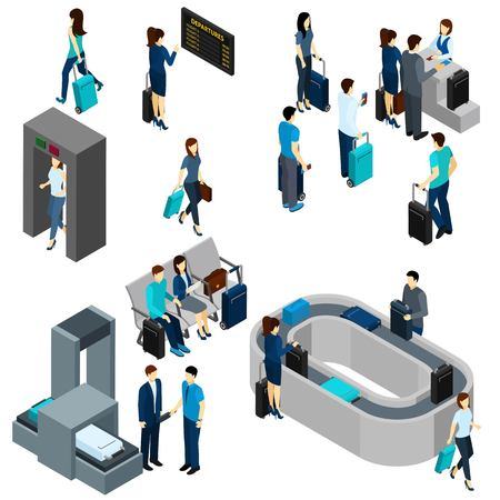 Illustration pour People in airport lounge and on security check isometric vector illustration - image libre de droit
