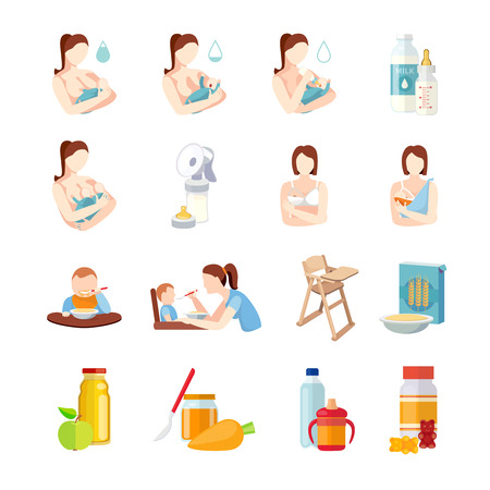 Illustration pour Babies breastfeeding positions and toddlers milk formula feeding with spoon flat icons set abstract isolated vector illustration - image libre de droit