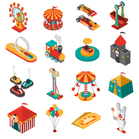 Illustration pour Travelling amusements park isometric icons collection with ferris observation wheel and circus tent abstract isolated vector illustration - image libre de droit