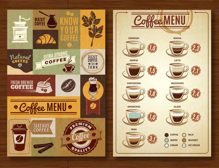 Ilustración de Coffee menu board for bar cafe restaurant vintage style 2 vertical banners composition abstract isolated  vector illustration - Imagen libre de derechos