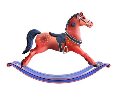 Illustration pour Realistic red child toy rocking horse isolated on white background vector illustration - image libre de droit