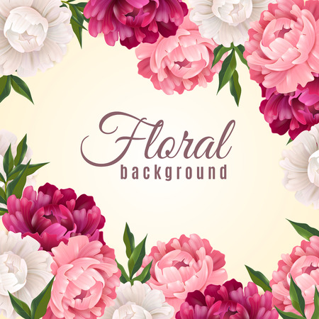 Illustration pour Floral realistic background with peonies for postcard or greeting vector illustration - image libre de droit