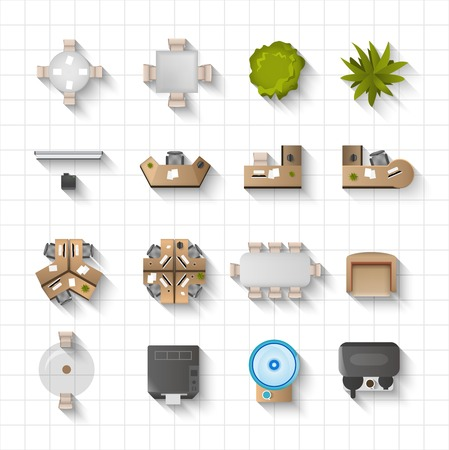 Illustration pour Office interior furniture icons top view set isolated vector illustration - image libre de droit