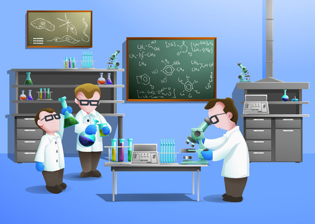 Illustration pour Chemical laboratory  concept  with scientists using modern biotechnology vector illustration - image libre de droit
