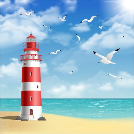 Illustration for Realistic lighthouse on the beach with seagulls and ocean on background vector illustration - Royalty Free Image