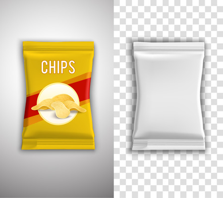Illustration for Chips realistic packaging design with blank white template and example isolated vector illustration - Royalty Free Image