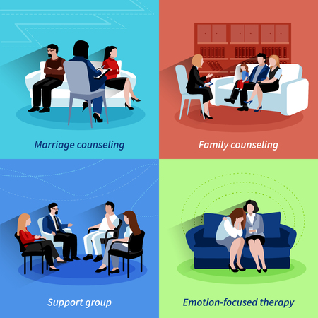 Illustration pour Marriage counseling center family support and emotions therapy 4 flat icons square composition  abstract isolated vector illustration - image libre de droit