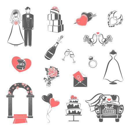 Illustration for Traditional wedding two colors icons set with engaged couple and bridal party accessories abstract isolated vector illustration - Royalty Free Image