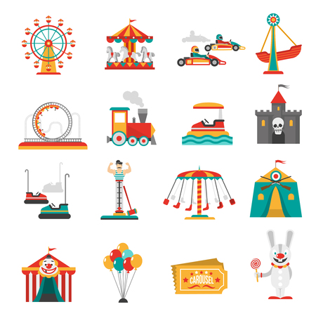 Illustration pour Amusement park flat icons set with family attractions isolated vector illustration - image libre de droit