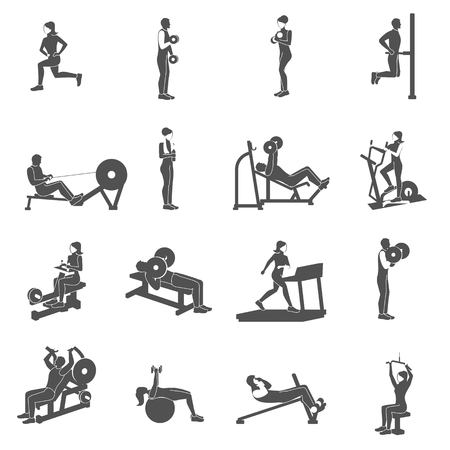Ilustración de Gym workout black people silhouettes flat set isolated vector illustration - Imagen libre de derechos