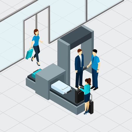 Illustration pour Airport security check with isometric people in queue vector illustration - image libre de droit