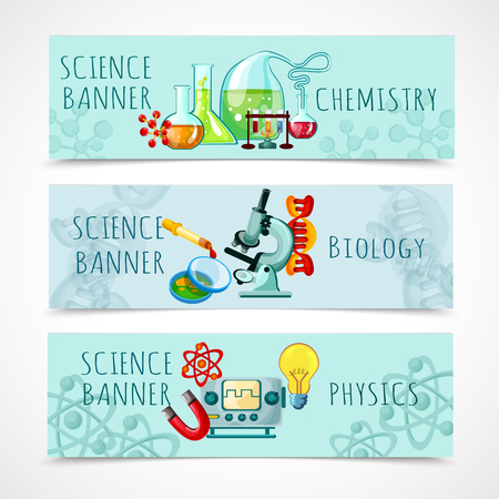 Illustration pour Science horizontal banner set with chemistry biology and physics elements cartoon isolated vector illustration - image libre de droit