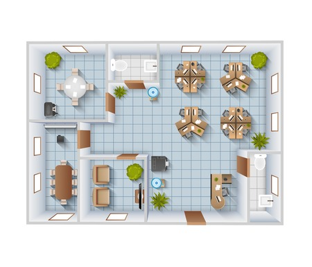 Illustration pour Office interior top view blueprint template with conference room and restroom vector illustration - image libre de droit