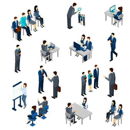 Illustration pour Recruitment process set with isometric business people employees isolated vector illustration - image libre de droit