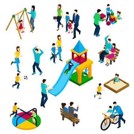 Illustration for Family playing concept with isometric adults and children on playing ground isolated vector illustration - Royalty Free Image
