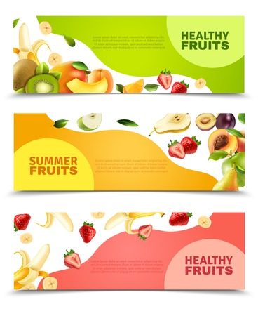 Ilustración de Summer healthy diet organically grown fruits and berries 3 horizontal colorful banners set abstract isolated vector illustration - Imagen libre de derechos