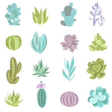 Ilustración de Decorative different types of cactus icons set with thorns flat isolated vector illustration - Imagen libre de derechos