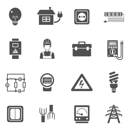 Illustration pour Electricity black white icons set with power and energy symbols flat isolated vector illustration - image libre de droit